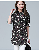 Women's Casual/Daily Vintage Spring Blouse,Floral Stand Long Sleeve Others Thin