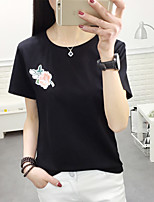 Women's Casual/Daily Street chic T-shirt,Embroidered Round Neck Short Sleeve Cotton