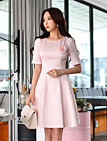 DABUWAWA Women's Going out Casual/Daily Party Vintage Street chic Sophisticated A Line Sheath Swing DressSolid Round Neck Above Knee Short Sleeve
