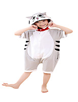 Kigurumi Pajamas Cat Leotard/Onesie Festival/Holiday Animal Sleepwear Halloween Gray Solid Cotton Cosplay Costumes ForUnisex Female Male   Kid