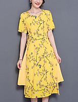 Women's Plus Size Casual/Daily Simple A Line Dress,Print Round Neck Midi Short Sleeve Polyester Summer Mid Rise Inelastic Medium
