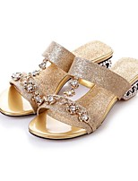 Women's Sandals Summer Comfort PU Casual Chunky Heel Rhinestone Blue Silver Gold