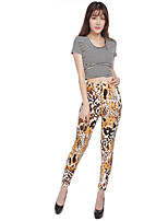 Super Soft Fabric Hot Sale  New Arrival Women's Slim Chinos PantsCasual/Daily Simple Print Mid Rise Elasticity Polyester Stretchy Spring Fall