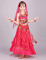 Belly Dance Outfits Kid's Performance Chiffon Spandex Sequined Coins Sequins 4 Pieces Sleeveless Natural Top Skirt Hip Scarf Veil