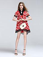 Для женщин На выход На каждый день Секси Очаровательный Уличный стиль А-силуэт Платье Цветочный принт,V-образный вырез МиниС короткими