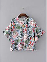 Damen Druck Sexy Einfach Street Schick Ausgehen Lässig/Alltäglich T-shirt,Rundhalsausschnitt Sommer ½ Länge Ärmel Baumwolle Dünn Mittel