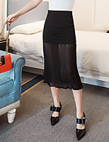 Women's High Rise Going out Casual/Daily Midi Skirts,Simple Boho Bodycon Tulle Solid Summer Fall