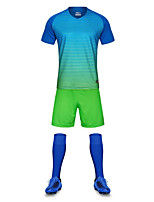 Men's Soccer Clothing Sets/Suits Breathable Quick Dry Summer Polyester Football/Soccer Light Green Green Purple Black