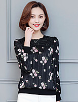 Women's Casual/Daily Simple Blouse,Floral Round Neck Long Sleeve Cotton Thin