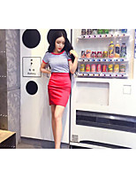 Women's Casual/Daily Simple T-shirt Dress Suits,Striped Round Neck