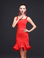 Latin Dance Dresses Women's Performance Milk Fiber Splicing 1 Piece Sleeveless Natural Dress
