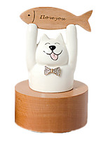 Music Box Cat Novelty & Gag Toys Ceramics Unisex