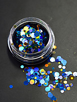 1 Bottle Fashion Colorful Mixed Size Sparkling Nail Art Glitter Laser Round Paillette Decoration Nail Art Beauty DIY Thin Slice P1