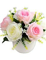 2 Ramo Poliéster Plástico Rosas Flor de Mesa Flores artificiais