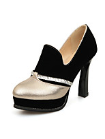 Mujer-Tacón Robusto-Zapatos formales-Tacones-Exterior Oficina y Trabajo Vestido Informal-Semicuero-Dorado Plateado Azul