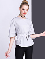 Women's Casual/Daily Work Simple Summer Shirt,Solid Round Neck ½ Length Sleeve Cotton Opaque Medium