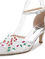 Damen-Sandalen-Hochzeit Outddor Büro Kleid Party & Festivität-Seide maßgeschneiderte Werkstoffe-Stöckelabsatz-D'Orsay und Zweiteiler-Weiß