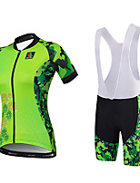 MALCIKLO® Cycling Jersey with Bib Shorts Women's Short Sleeve BikeBreathable Quick Dry Anatomic Design Water Bottle Pocket Back Pocket