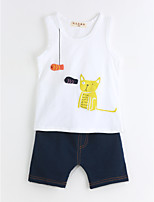 Boys' Casual/Daily Solid Animal Print Sets,Cotton Summer Sleeveless Clothing Set