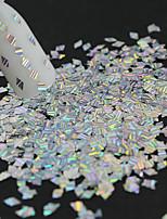1 bouteille nouvelle mode nail art rhombus laser glitter rayure en argent fine tranche diy beauté glitter décoration paillette