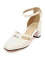 Women's Sandals Spring Summer Comfort Leatherette Dress Casual Chunky Heel Buckle Beige Black White Walking
