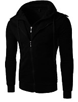 Men's Casual/Daily Hoodie Solid Round Neck Micro-elastic Cotton Long Sleeve Fall Winter