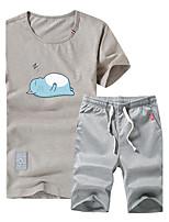 Activewear Set Homme Grandes Tailles Décontracté / Quotidien Sportif Sortie Actif simple Chic de Rue Couleur Pleine Imprimé Col Arrondi