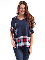 Lztlylzt Women's Casual/Daily Vintage Spring Summer T-shirtPlaid Round Neck  Length Sleeve Cotton Polyester Thin