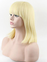 30cm Short Straight Wig Golden Color Neat Bang Heat Resistant Short Synthetic Hair For Women Wig