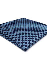 CH22 Handmade Business Men's Pocket Square Handkerchiefs Unique Blue Silver Checked100% Silk New Wedding Classic Casual