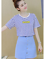 Women's Going out Casual/Daily Cute Summer T-shirt Skirt Suits,Striped Round Neck Short Sleeve Rayon