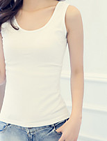 Women's Casual/Daily Simple Spring Tank Top,Solid Round Neck Sleeveless Pink White Black Gray Green Silk Medium