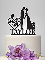 Personalized Acrylic Couple And Cat & Dog Wedding Cake Topper