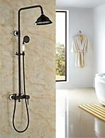 Antique Centerset Rain Shower with  Ceramic Valve Single Handle Three Holes for  Oil-rubbed Bronze , Shower Faucet