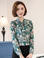 Women's Going out Casual/Daily Work Vintage Simple Cute All Seasons Summer Blouse,Floral Stand Long Sleeve Rayon Thin
