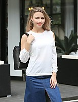 Women's Going out Casual/Daily Simple Spring T-shirt,Solid Round Neck Long Sleeve Cotton Thin