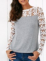 Women's Going out Casual/Daily Simple Street chic Spring Fall Shirt,Print Boat Neck Long Sleeve Silk Opaque