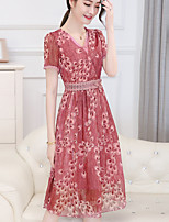 Women's Plus Size Casual/Daily Sexy Simple A Line Loose Dress,Floral V Neck Midi Short Sleeve Polyester Summer Mid Rise Inelastic Medium
