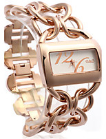 Femme Montre Tendance Quartz Alliage Bande Or Rose