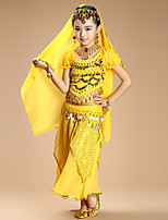 Belly Dance Outfits Kid's Performance Chiffon Spandex Coins Sequins 4 Pieces Short Sleeve Natural Top Skirt Veil Hip Scarf