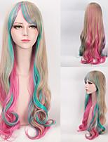 Adorable mignonne harajuku cosplay perruque mulit couleur gradient pleine perruque de partie cosplay cheveux long pour custume coloré avec