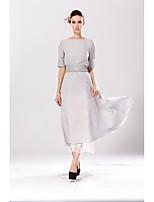 Damen Swing Kleid-Lässig/Alltäglich Solide Rundhalsausschnitt Maxi Kurzarm Baumwolle Frühling Sommer Hohe Hüfthöhe Mikro-elastisch Dünn