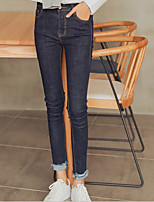 Women's Slim Jeans Pants,Casual/Daily Simple Solid Mid Rise Zipper Cotton Micro-elastic Spring Fall