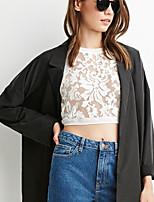 Damen Solide Einfach Lässig/Alltäglich T-shirt,Rundhalsausschnitt Ärmellos Baumwolle