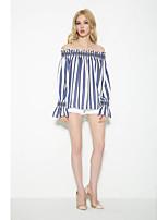Tee-shirt Femme,Couleur Pleine Sortie Décontracté / Quotidien Sexy simple Chic de Rue Eté Automne Manches Longues Bateau Coton Moyen