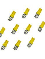 10pcs t10 5 * 5050 smd führte Auto Glühlampe gelbes Licht dc12v