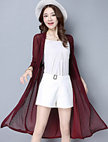 Women's Casual/Daily Long Cardigan,Solid Asymmetrical Long Sleeve Polyester Summer Thin Micro-elastic