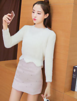 Women's Going out Party/Cocktail Holiday Simple Street chic Sweater Skirt Suits,Solid Round Neck