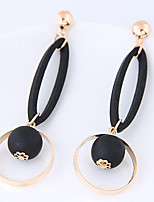 Drop Earrings Euramerican Wood Alloy Circle Geometric Jewelry For Daily Casual 1 Pair