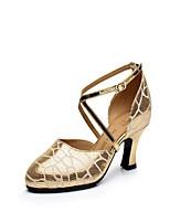 Keine Maßfertigung möglich Damen Latin Leder Absätze Innen Verschlussschnalle Kubanischer Absatz Gold 5 - 6,8 cm